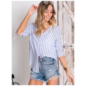 Cinched Blue Stripe Sleeve Button Down Top